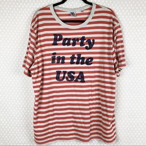 Junk Food | red & white striped graphic print tee